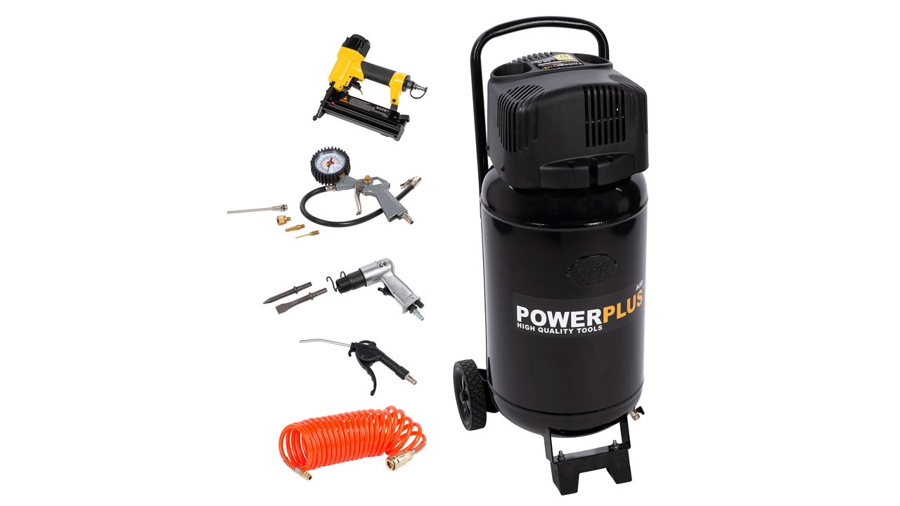 POWX1751 COMPRESSOR 1100W 50L + 9PCS NO OIL 2PK