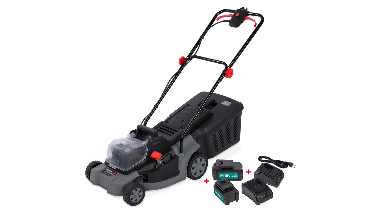 POWEBG7566 LAWNMOWER LI 400mm + 2x18V BATT + 2 CHARGERS