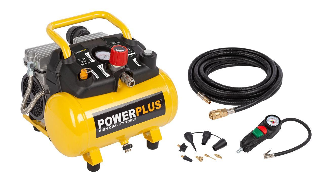 POWX1724S SILENT COMPRESSOR 750W 6L +10PCS NO OIL 1,0HP