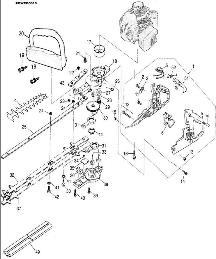 Poweg3010 Hedgetrimmer 225cc 600mm