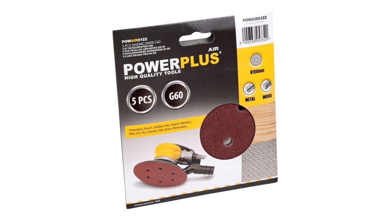 POWAIR0122 SANDING DISC Ø150mm G60 5PCS
