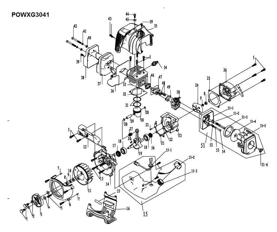 Powxg3041 Brush Cutter 326cc