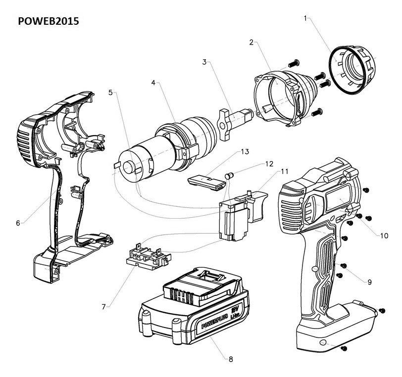 Poweb2015 Impact Wrench 18v Li Ion No Accu