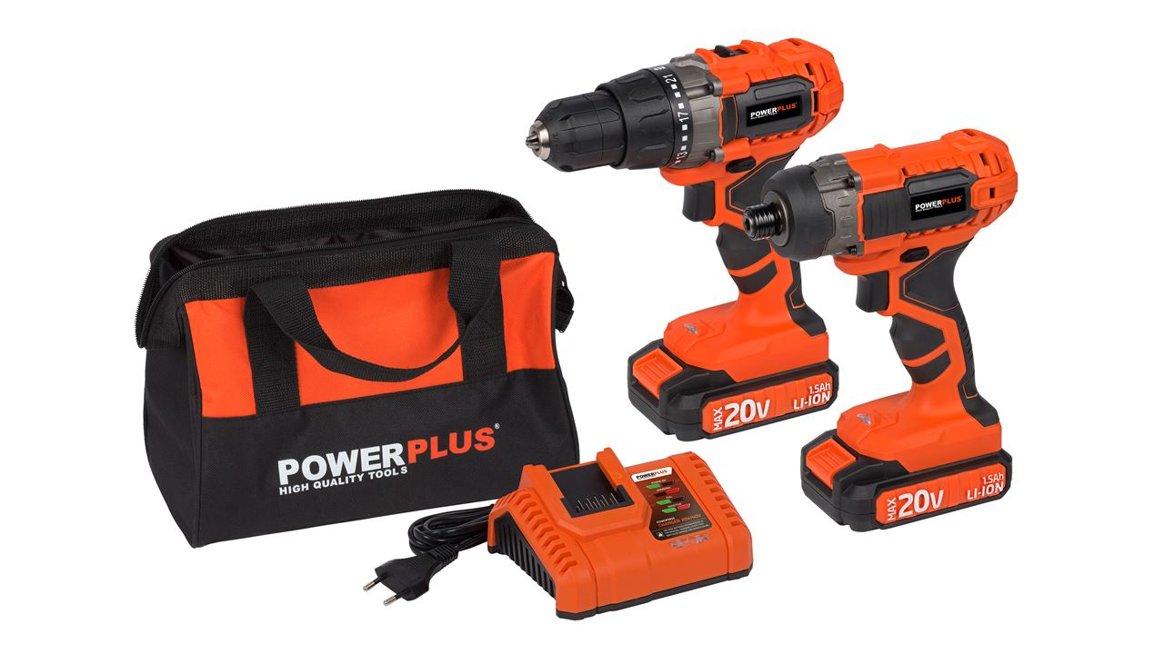 POWDP1550 DRILL/SCREWDR20V + IMPACT SCREWDR20V + CHARGER