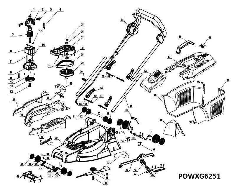 Powxg6251 Lawnmower 1600w 380mm