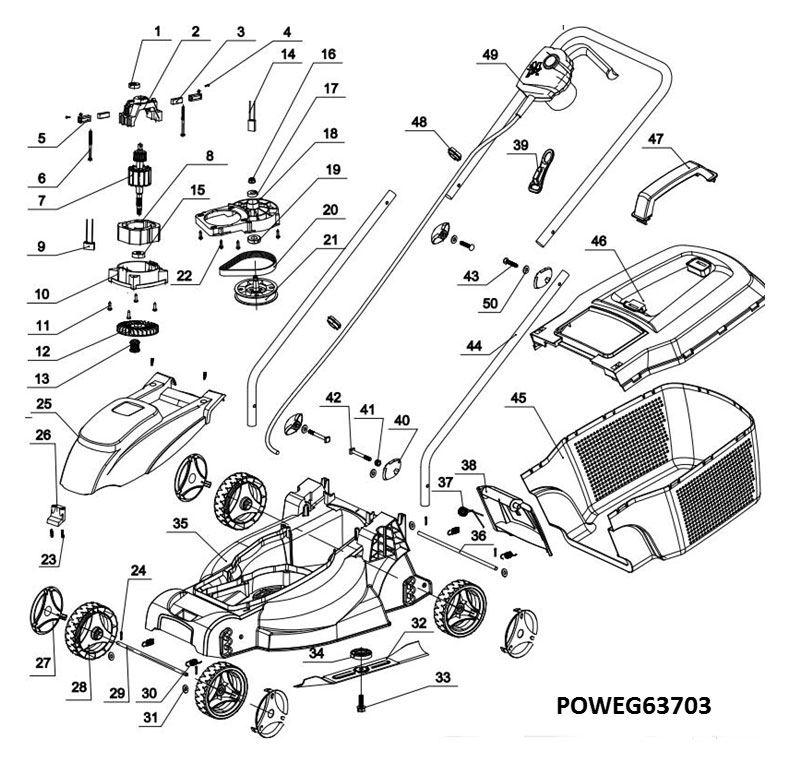 Poweg63703 Lawnmower 1000w 320mm